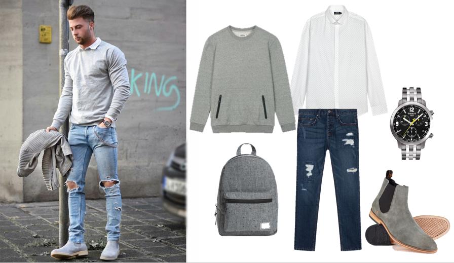 Cách phối trang phục jeans với túi xách nam màu xám